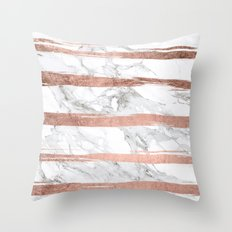 Modern chic faux rose gold brush stripes white marble Throw Pillow