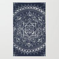 Rug featuring White Flower Mandala On … by Laurel Mae