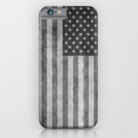 iPhone Cases featuring American flag - retro style in grayscale by Bruce Stanfield