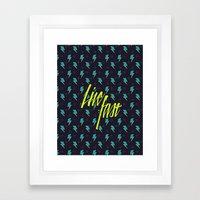 Live Fast blue Framed Art Print