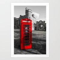 Red Telephone Box at Windsor Castle Art Print