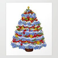 Cape Cod Hydrangea Christmas tree Art Print