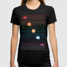 Many Lands Under One Sun Womens Fitted Tee Tri-Black SMALL