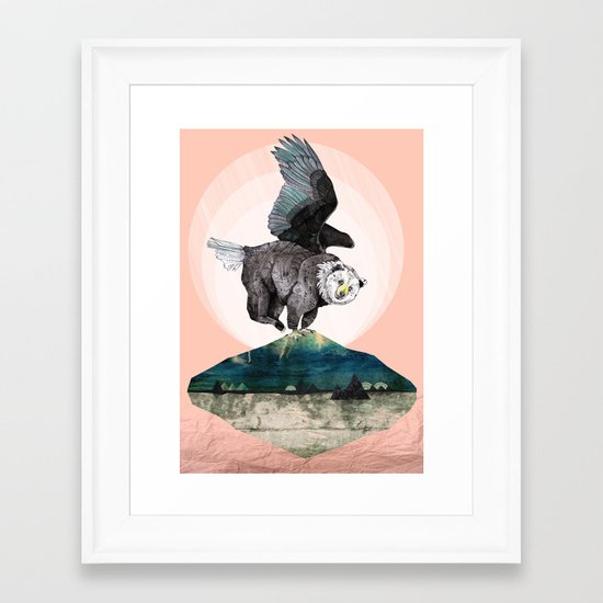 Beargle // half bear half eagle Framed Art Print