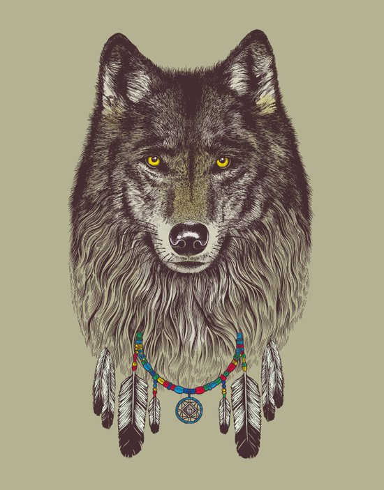 Wind Catcher Wolf Art Print