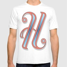 Letter H SMALL Mens Fitted Tee White
