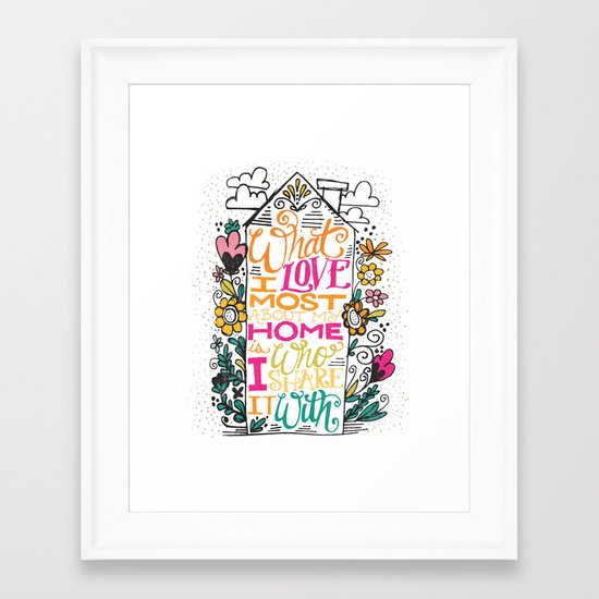 What I Love Most About My Home... Framed Art Print