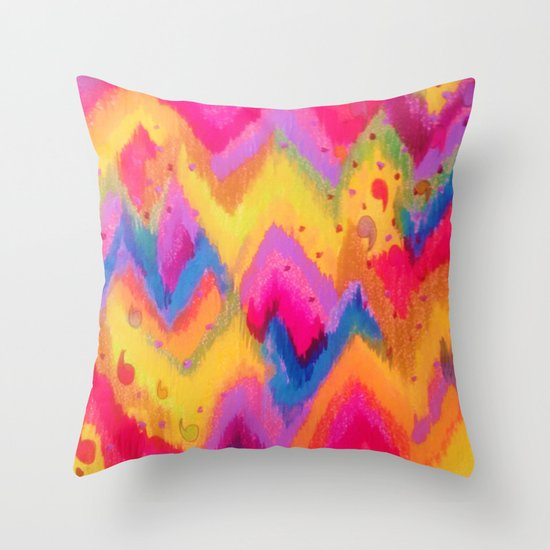 BOLD QUOTATION - Bright Vibrant Neon Quote Chevron Pattern Ikat Rainbow Trendy Design Fun Art Throw Pillow