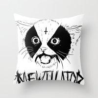 Mewtilator Throw Pillow