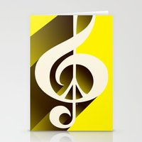 Yellow Retro Shadow Musi… Stationery Cards