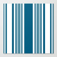 Egyptian Blue and white stripes Canvas Print