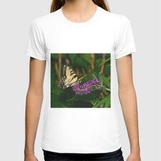 Butterfly feeding on flowers 3 Womens Fitted Tee White SMALL