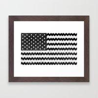 Black Zig Zag Flag Framed Art Print