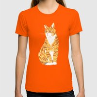 Ginger Cat Womens Fitted Tee Orange SMALL