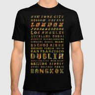 Travel World Cities Mens Fitted Tee Black SMALL