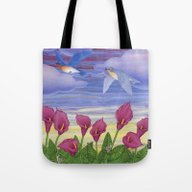 Eastern Bluebirds, Purpl… Tote Bag