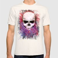 Colorful Skull Mens Fitted Tee Natural SMALL