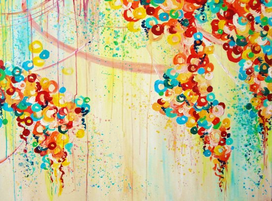 SUMMER IN BLOOM - Beautiful Abstract Acrylic Painting Vibrant Rainbow Floral Nature Theme  Art Print