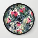 Painted Protea Pattern Wall Clock