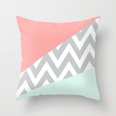 Original Mint & Coral Chevron Block Throw Pillow