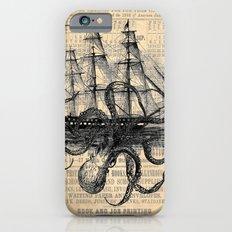 Octopus Kraken attacking Ship Antique Almanac Paper iPhone 6 Slim Case