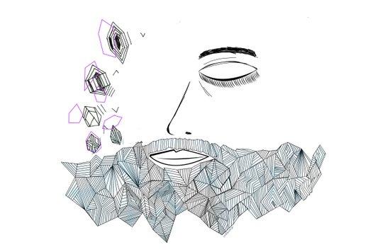 Geometric beard Art Print