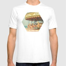 Seaside Carousel Mens Fitted Tee White SMALL