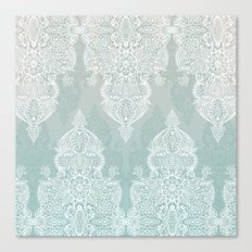 Lace & Shadows - soft sage grey & white Moroccan doodle Canvas Print