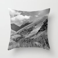Mountains, Village, Sky. Throw Pillow