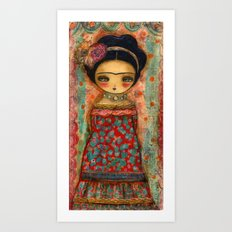 Frida In A Red And Teal Dress Art Print