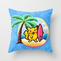 Pika Surf Throw Pillow