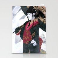 Japanese Woman Street Ar… Stationery Cards