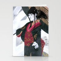 Japanese Woman Street Ar… Stationery Cards