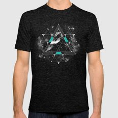Time & Space Mens Fitted Tee Tri-Black SMALL
