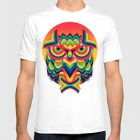 Owl 3 Mens Fitted Tee White SMALL