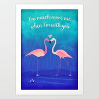 Flamingos in Love Art Print