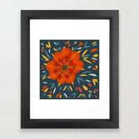Decorative Whimsical Orange Flower Framed Art Print