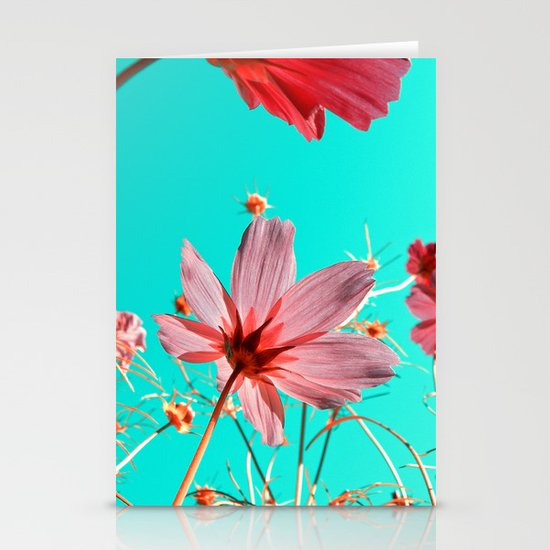 cosmos flowers abstract I Stationery Card