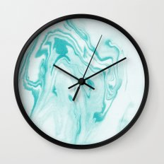 Aimi - spilled ink abstract water wave tropical vacation india ink aqua gender neutral painting boho Wall Clock