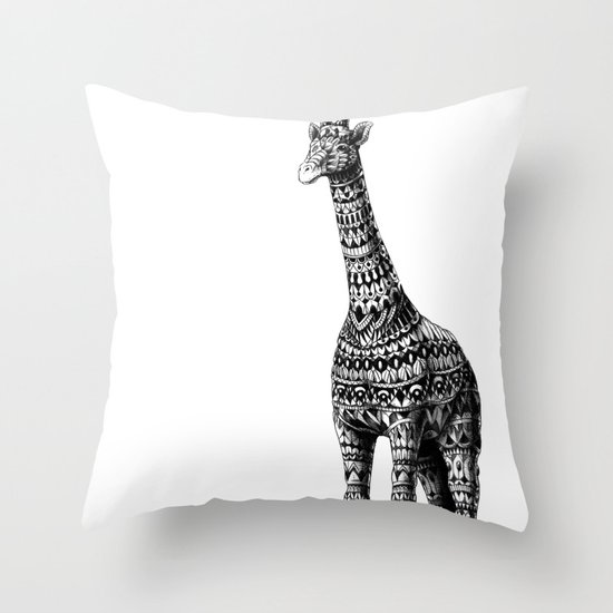 Ornate Giraffe Throw Pillow