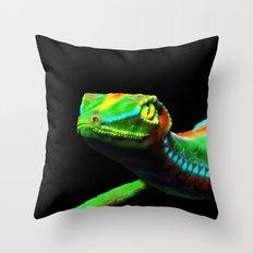 Gecko Lizard Close up 3d digital Art Throw Pillow