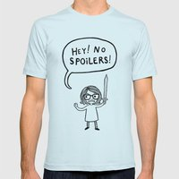 No Spoilers Mens Fitted Tee Light Blue SMALL