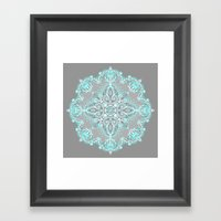 Teal And Aqua Lace Manda… Framed Art Print