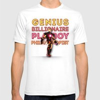 Iron Man: Genius Billionaire Playboy Philanthropist Mens Fitted Tee White SMALL
