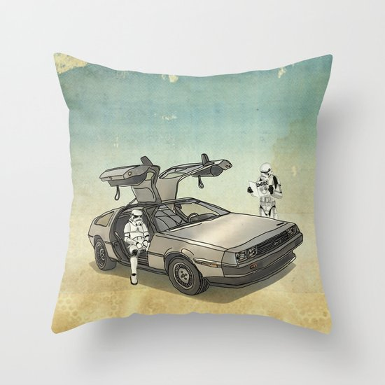 Lost, searching for the DeathStarr _ 2 Stormtrooopers in a DeLorean  Throw Pillow