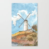 Windmill Against a Blue Sky Canvas Print