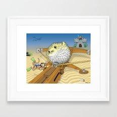 Monkey vs. Monkey Blowfish Attack Framed Art Print