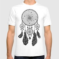 Dreamcatcher (Black & Wh… Mens Fitted Tee White SMALL