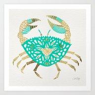 Crab – Turquoise & Gol… Art Print