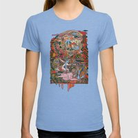 WIND THE SWAN Womens Fitted Tee Tri-Blue SMALL